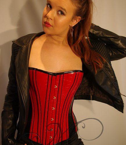 Rood/zwart latex overbust