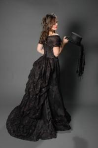 Zwarte belle epoque jurk zij-achteraanzicht