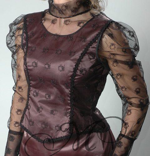 Taupe belle epoque jurk vooraanzicht